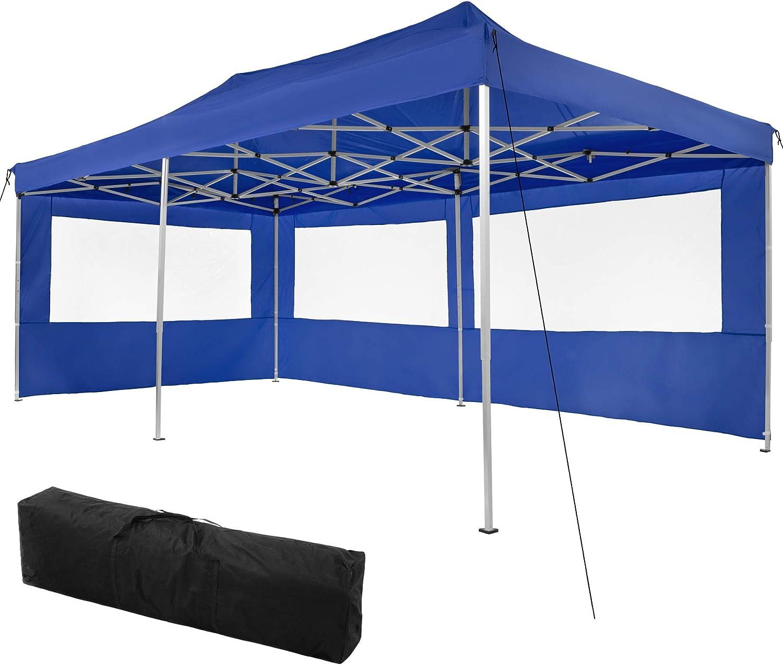 TecTake 800687 Carpa de Jardín 6 x 3m, Plegable, Aluminio, 100% Impermeable, 2 Paneles Laterales, con Cuerdas Tensoras, Piquetas y Bolsa (Azul | no. 403160): Amazon.es: Jardín