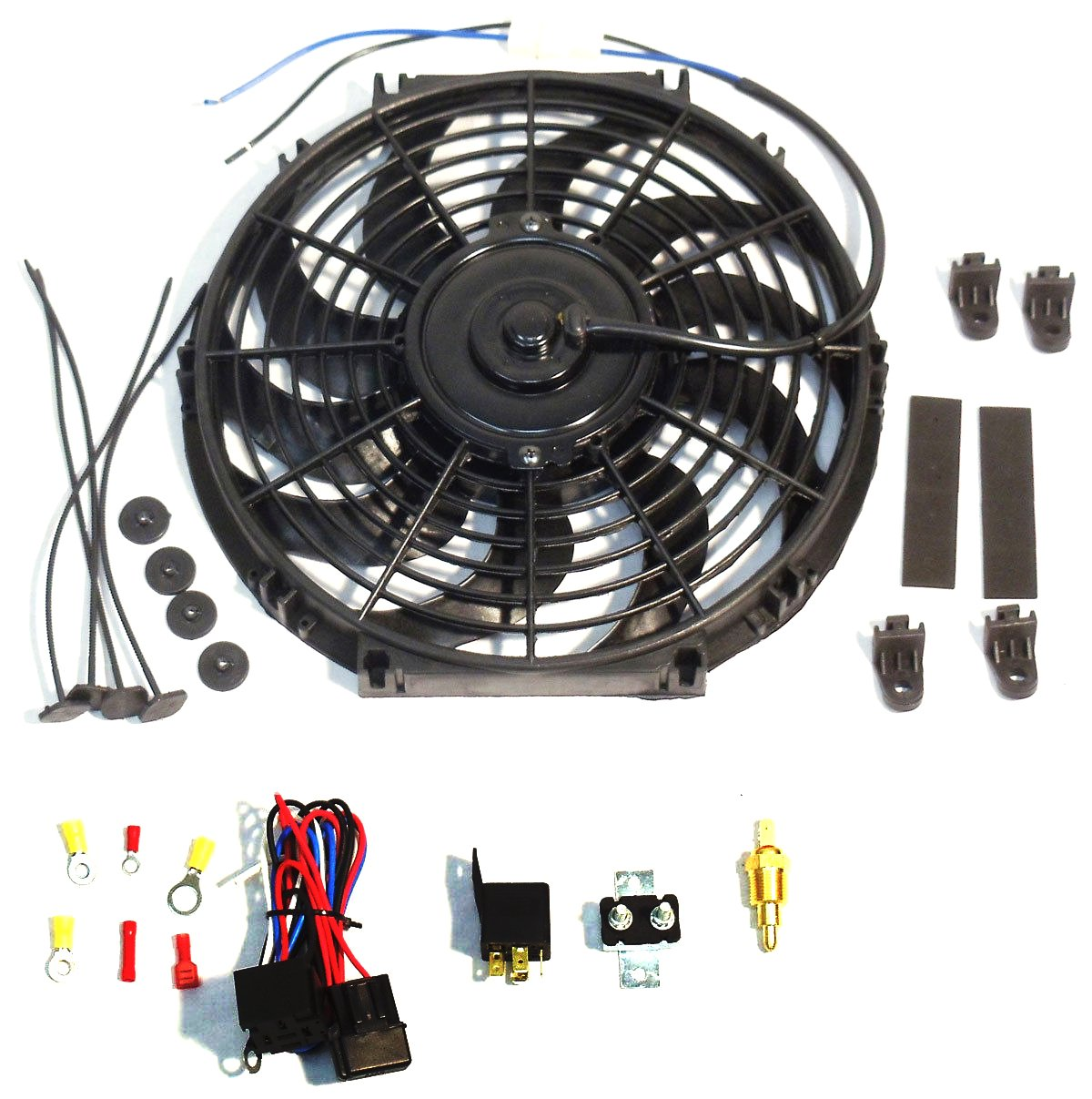 16'' Electric Curved''S'' Blade Reversible Cooling Fan 12v 3000cfm & Thermostat Kit
