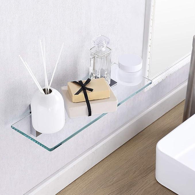 KES Mensola in vetro da bagno con fondo in vetro e asta vetro temperato 350 X 120 MM cromato BGS3201S35