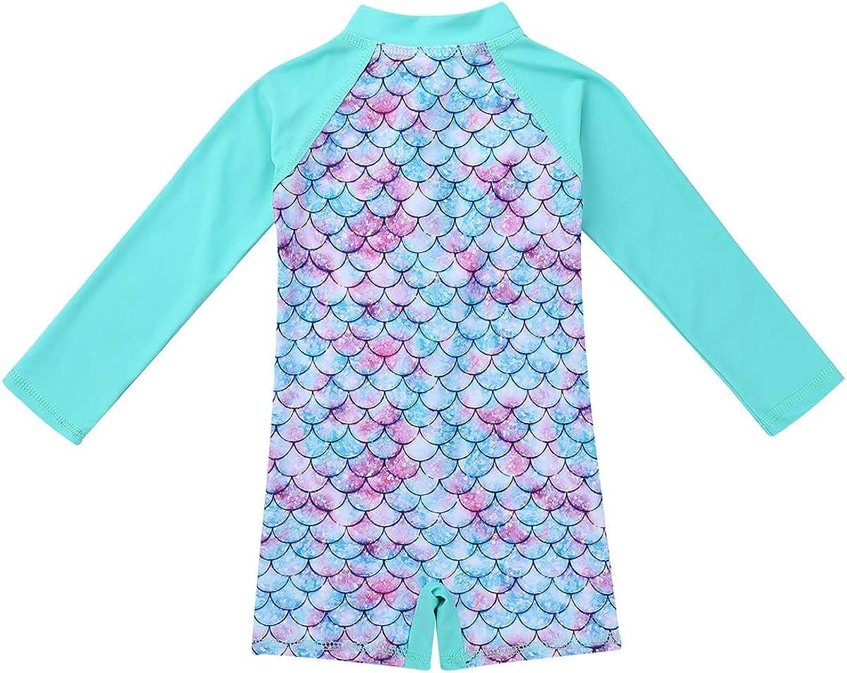 Agoky Baby Girls One Piece Mermaid Scales Printed Long Sleeves Swimming Costume Rash Guard