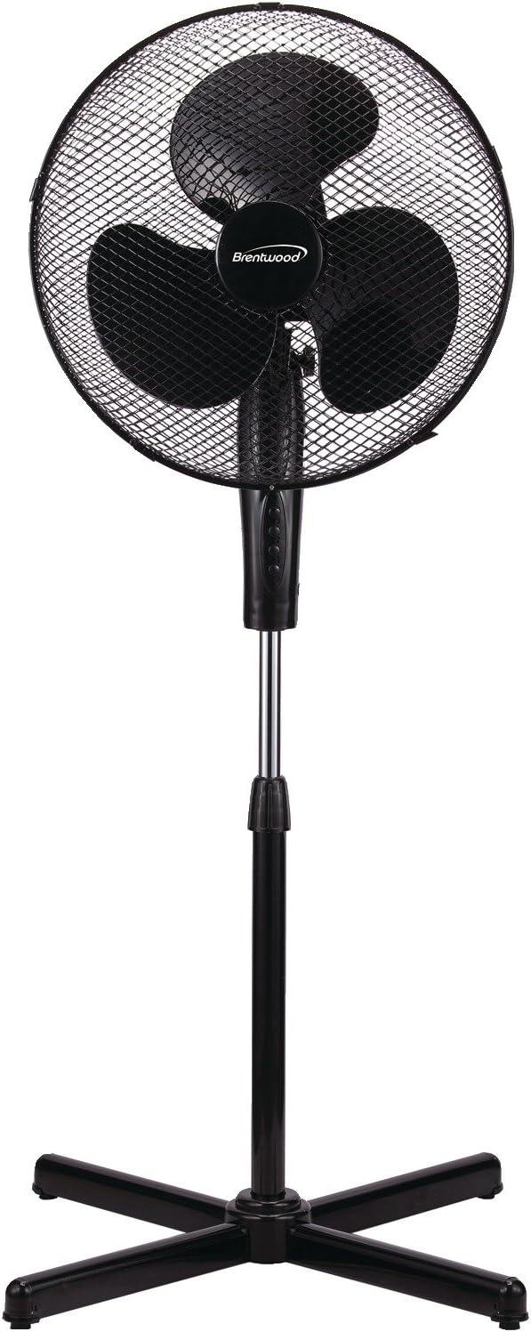 Brentwood Kool Zone Oscillating Stand Fan 3-Speed, 16-inch, Black