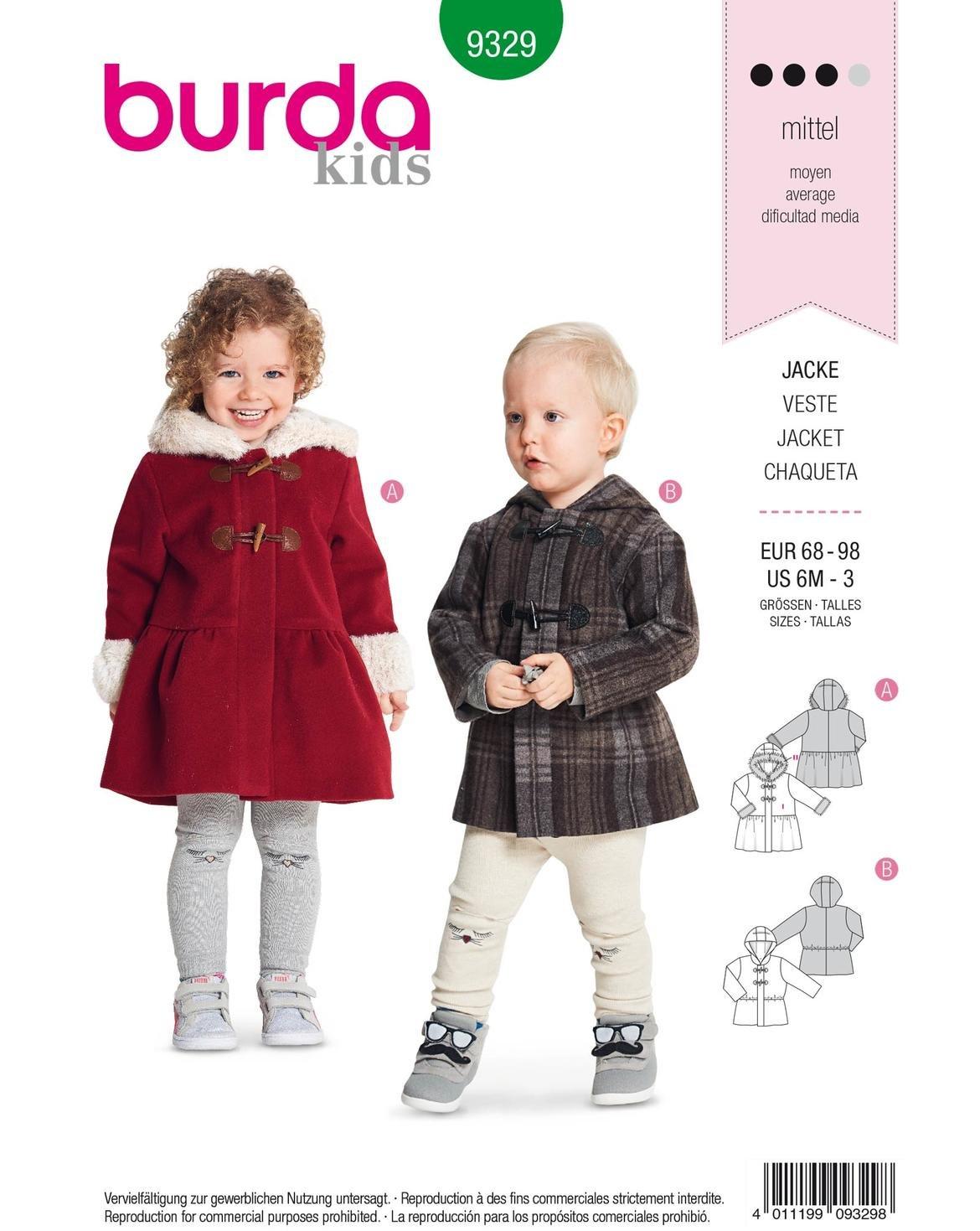 Burda Patron 9329 Childrens Jacket 68-98 cm