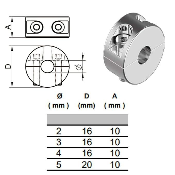 4mm, 2 St/ück Stoppklemme aus Edelstahl V4A Seilklemme Drahtklemme Drahtseil Klemme Drahtseilklemme