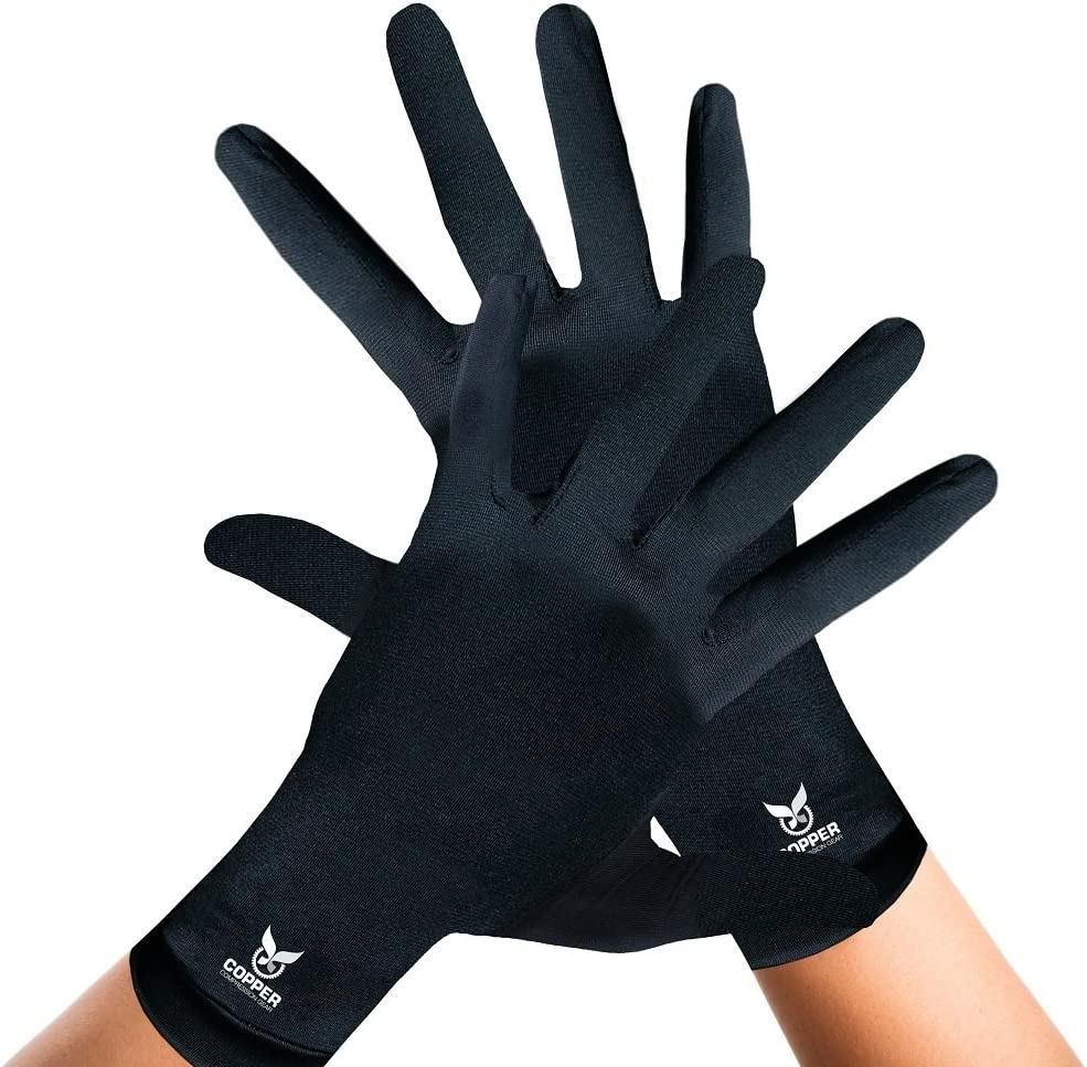 Arthritis Gloves for Women and Men by Copper Compression Gear (Full Finger) 100% Guaranteed - Relieve Symptoms of Arthritis, RSI, Carpal Tunnel, Swollen Hands, Tendonitis + More. (Pair of Gloves)