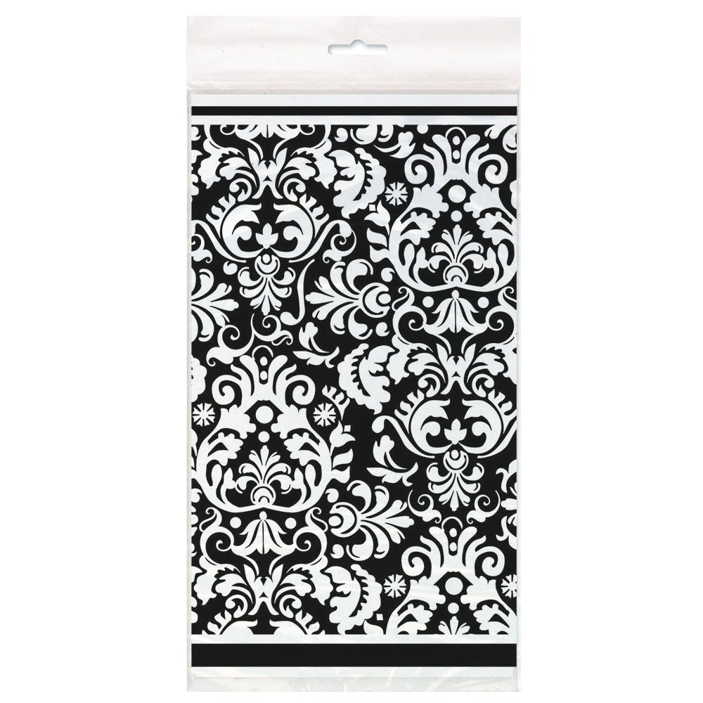 sc 1 st  Amazon.com & Amazon.com: Black Damask Plastic Tablecloth 84\