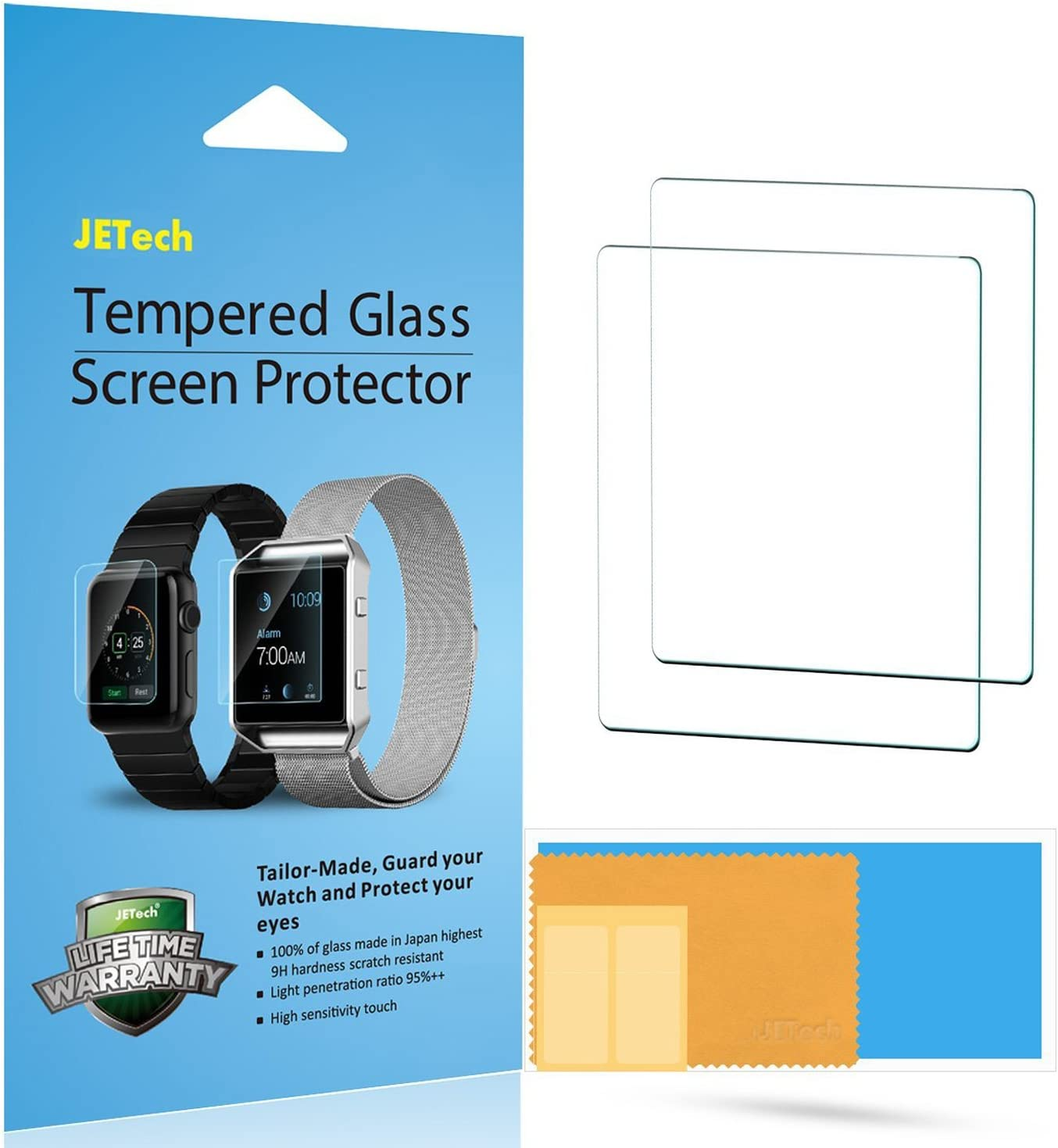 JETech 2-Pack Screen Protector for Apple Watch 38mm Series 1 2 3, NOT Series 4/5, Tempered Glass