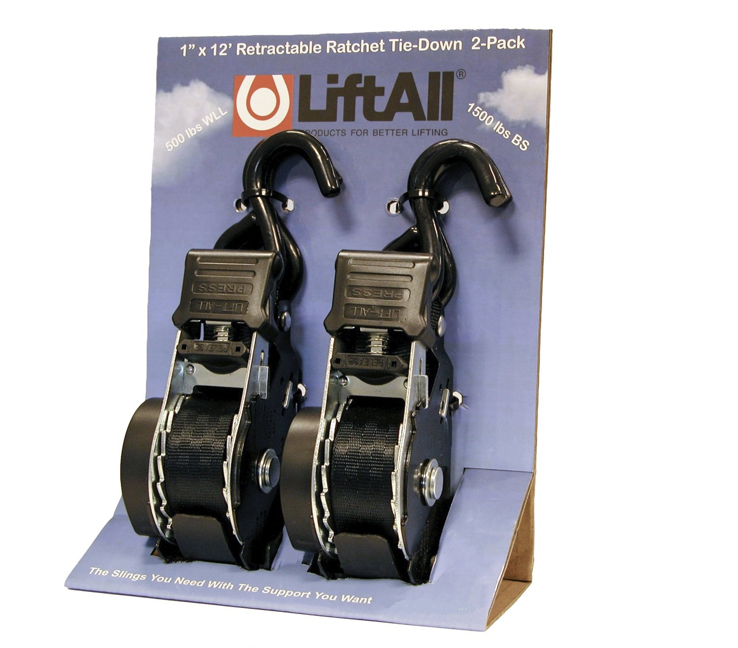 S-Hook 2.25 Width 3 Height Liftall 60203 Retractable Ratchet Tie-Down Assembly 5.75 Length 1 x 12 2 Per Pack