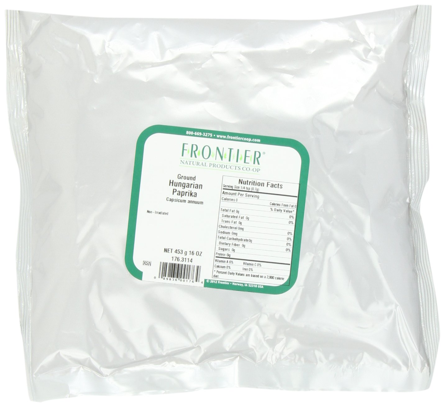 Frontier Paprika, Hungarian, Powder, 16 Ounce Bags (Pack of 2)