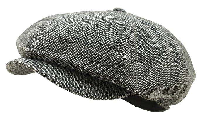 1d6e0ce7ff77b Men Woolen Gatsby 8 Panel Tweed Newsboy Hat Homespun Bakerboy Flat Cap (Gray )