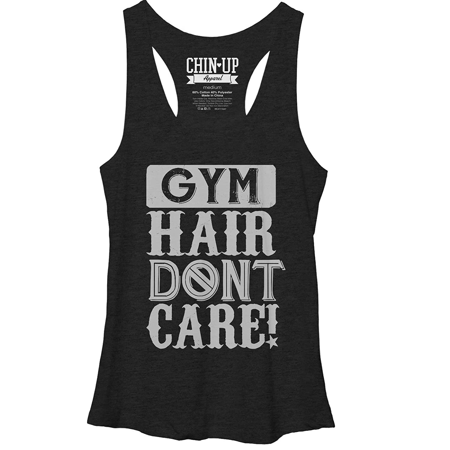 Chin Up Women's Gym Hair Don't Care Racerback Tank Top