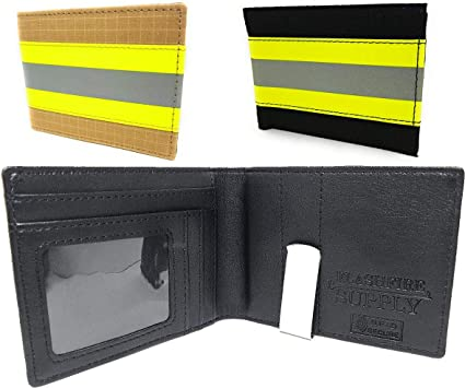 Personalized Firefighter Captain Bi-fold Wallet Made From Turnout Bunker Gear Material
