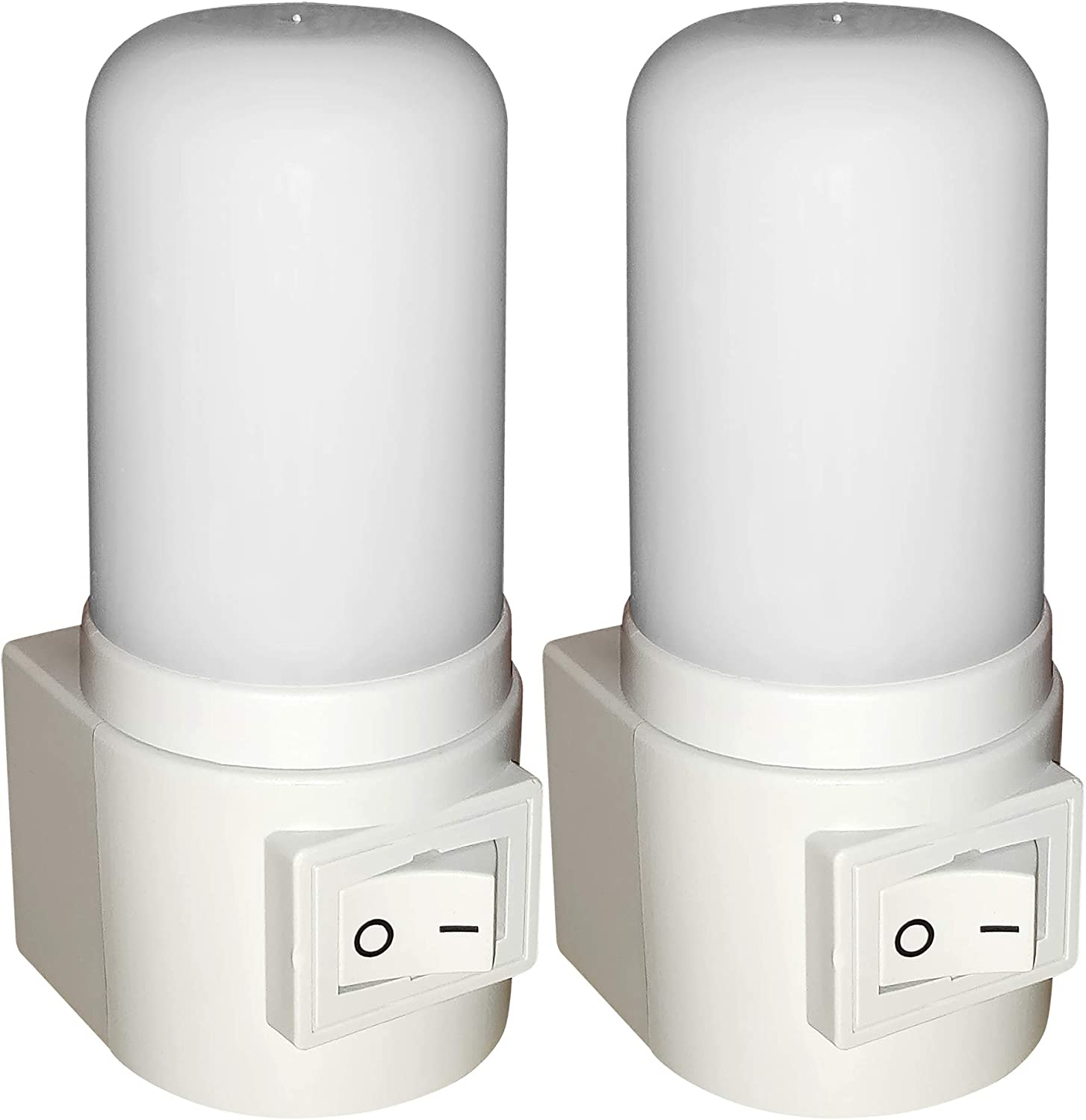 Maximm LED Manual On/Off Switch Plug-in Night Light, Bright White, [2 Pack], Indoor Light Bathroom, Hallway, Stairs, Pantry, Laundry Room and Walk-in Closet Compact and Energy Efficient