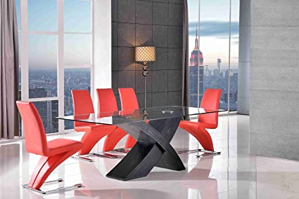 Valencia Nero 160 Tavolo Da Pranzo In Vetro Con Sedie Z Disponibile In Nero Marrone Rosso Avorio Rosso 4 Amazon It Casa E Cucina