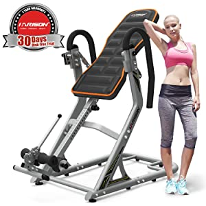 HARISON Inversion Table for Back Pain Relief High Capacity with 180 Full Inversion, Heavy Duty Back Inversion Chair with 3D Memory Foam and Adjustable Height