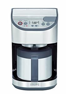KRUPS KT611 Precision Programmable Thermal Carafe Coffee Maker Machine with Stainless Steel Housing, 10-Cup, Silver