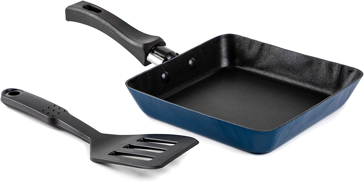 Core Home Tamagoyaki Mini Square Aluminum Frying Pan with Slotted Turner, 5 1/2 Inch Square, Great for Pancakes, Omelets, Eggs, Great Gift Idea… (Blue Exterios)