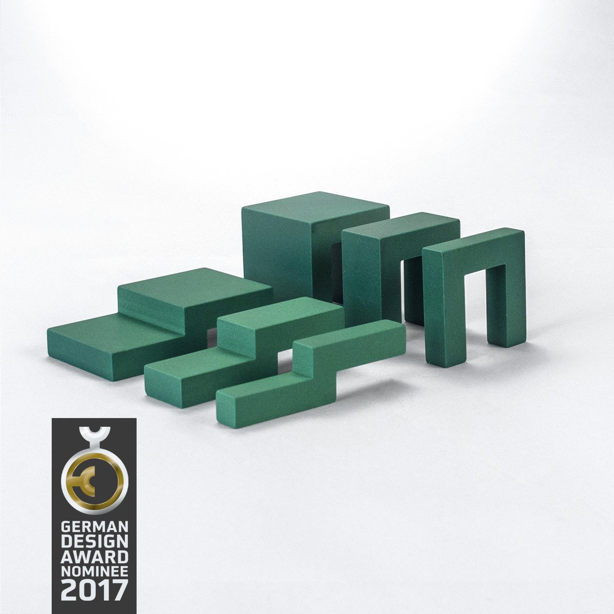 Design-Bauklötze ludobricks (betongrau) Grün