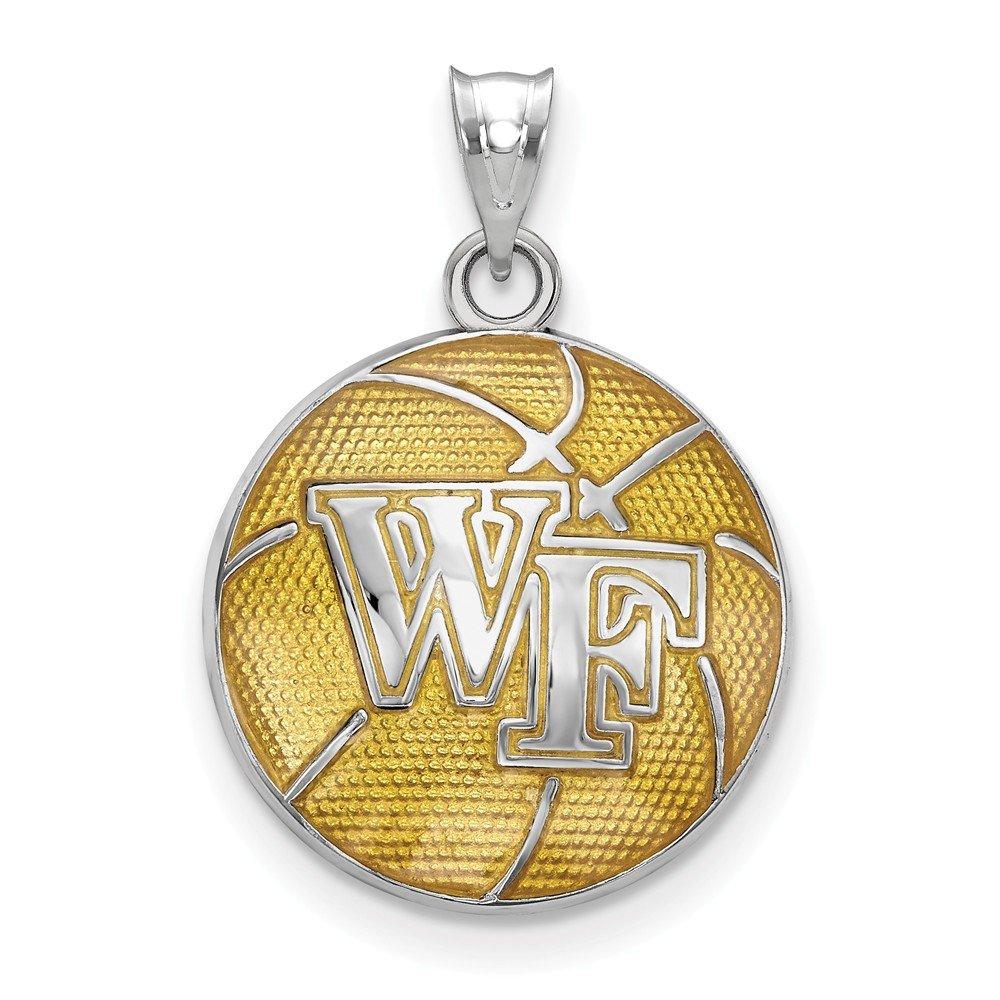 Sterling Silver Wake Forest Univ Enameled Basketball Pendant North Carolina 16 mm 24 mm Yellow Pendants /& Charms Jewelry