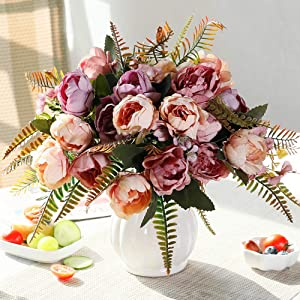 LESING Artificial Peony Bouquets with Ceramic Vase Silk Flowers for Wedding Home Table Centerpiece Decoration (Purple Pink)