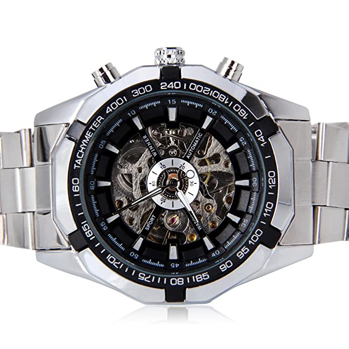 Amazon.com: Excelvan Mens Man Silver Stainless Skeleton Mechanical Mens Men Wrist Watch GIFT: Watches