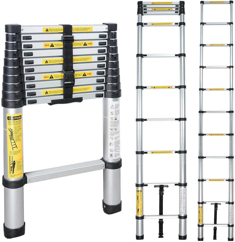 L/änge:4.4m Leiter 3.2//4.4m Alu Teleskopleiter Klappleiter Ausziehleiter Multifunktionsleiter Leiter Alu Anlegeleiter Tragf/ähigkeit 150Kg