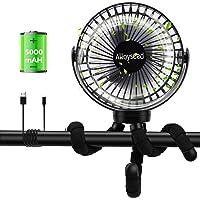 Alloyseed Ventilador USB Silencioso, 5000mAh Ventilador Portatil Recargable, 360° Rotación, 3 Velocidades, Ventilador…
