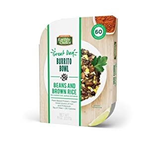 Nature's Earthly Choice Plant Based Protein, 8 oz Vegan Burrito Bowl, Beans and Rice, Pack of 8