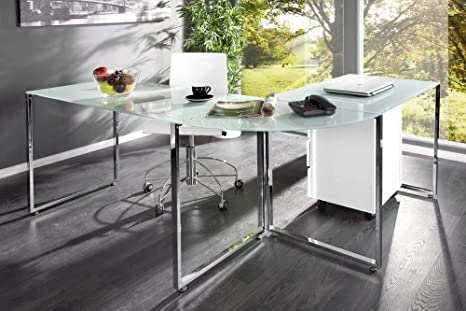 Scrivania Ad Angolo Design : Scrivania angolare studio in vetro bianco design esclusivo