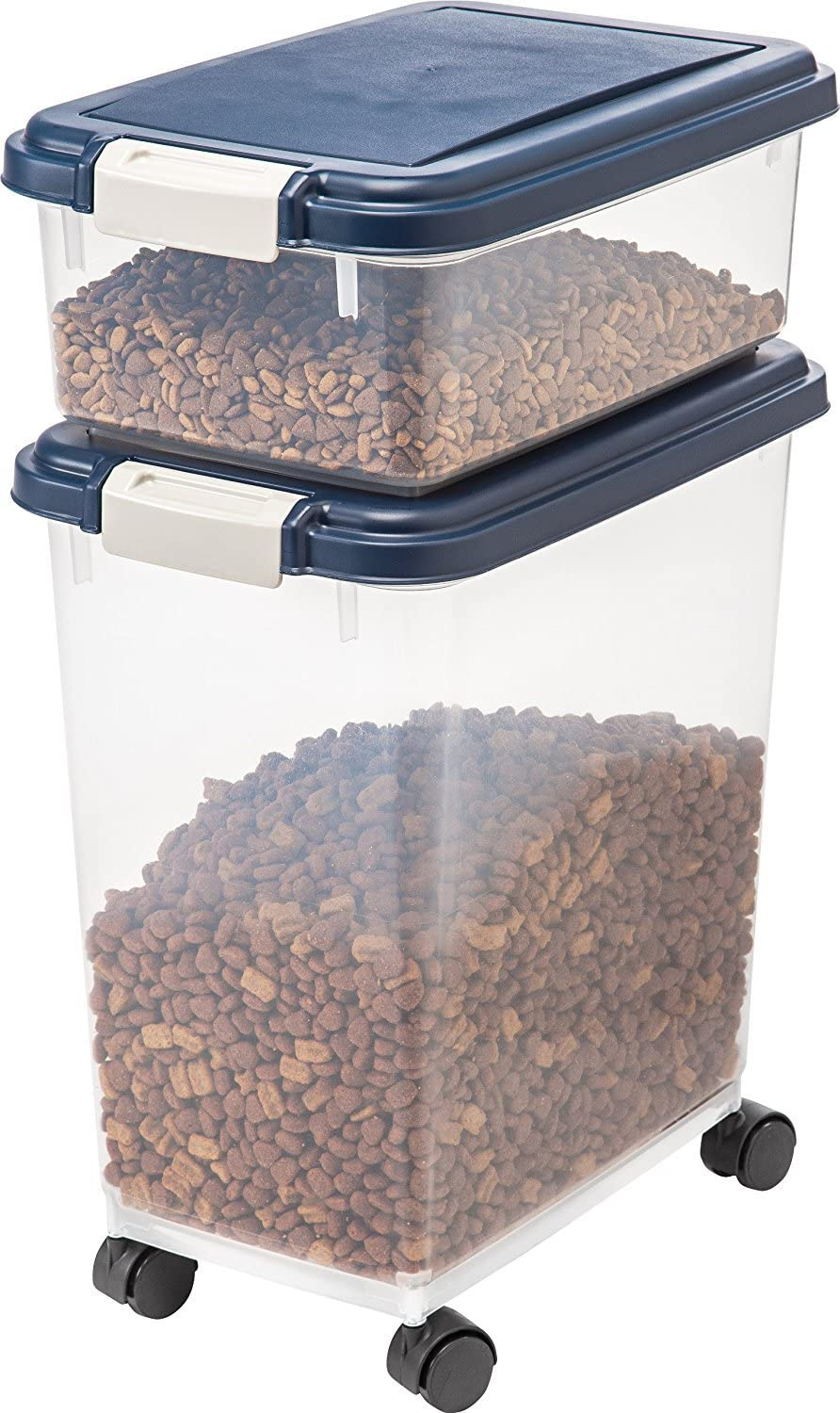 Clinsam 3-Pieces Airtight Pet Food Storage Container Rolling Treat Cat Dog Bird Combo Navy Blue