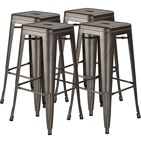 Enjoyable 30 In High Metal Stool Backless Industrial Bar Stools Indoor Outdoor Stackable Set Of 4 Gun Metal Pabps2019 Chair Design Images Pabps2019Com