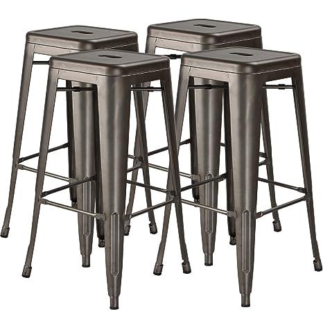 Cool 30 In High Metal Stool Backless Industrial Bar Stools Indoor Outdoor Stackable Set Of 4 Gun Metal Uwap Interior Chair Design Uwaporg