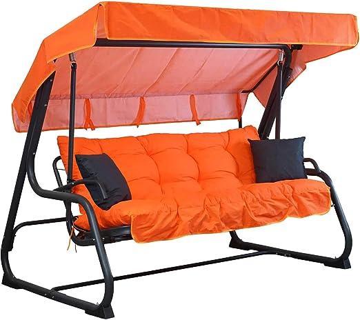 Tecnoweb - Cojines para balancín de 4 plazas - Incluido también el techo a juego - 100% Fabricado en Italia - Ideal para exteriores (jardines y patios) - Estructura no incluida, Arancione: Amazon.es: Jardín