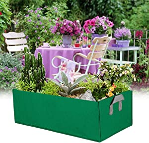 10 Gallon Fabric Planter Raised Bed Rectangular Plant Boxes Grow Pots Bag Garden Containers with Handles Fit for Grow Soil Plants Flowers Vegetables Garden Indoor Outdoor