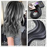 Moresoo 22 inch 20pcs/50g 100% Straight Remy Human Hair Natural Black #1B to Gray Silver Two Tone Ombre Balayage Color Seamless Skin Weft Tape In Hair Extensions