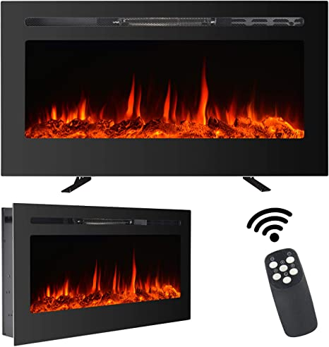 Maxxprime 36 Electric Fireplace Free Standing Recessed And Wall Mounted Fireplace Insert Heater With Touch Screen Control Panel Faux Fire Log Crystal Options 9 Flamer Color 750 1500w Kitchen Dining