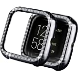 Yolovie Compatible with Fitbit Versa 2 Case/Fitbit Versa Case/Versa Lite Case, Bling Crystal Rhinestone Bumper PC Protective Face Cover Women Girl Shiny Diamond Plated Cases Edition Smart Watch