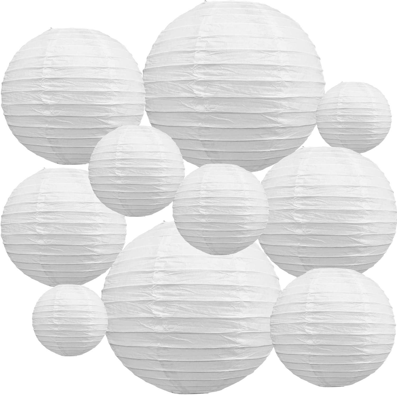 "10Pcs White Paper Lanterns Decorative Chinese/ Japanese Hanging Round Paper Lanterns Lamp for Birthday, Wedding, Halloween, Bridal Shower, Home Decor, Party Decoration(Size of 4"", 6"", 8"", 10"")"