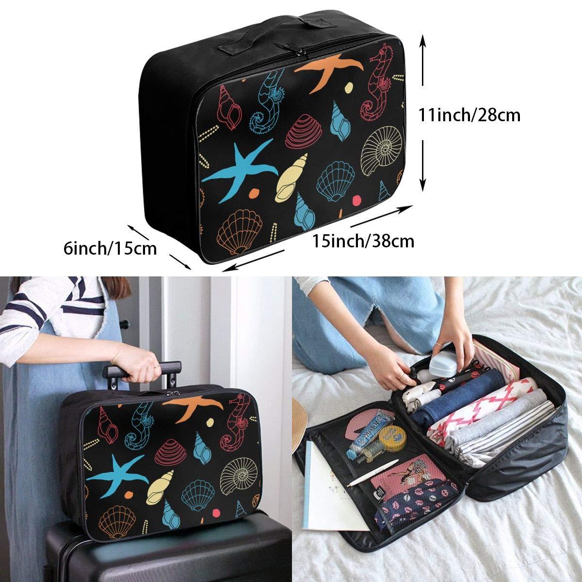 Travel Luggage Duffle Bag Lightweight Portable Handbag Seahorse Starfish Large Capacity Waterproof Foldable Storage Tote