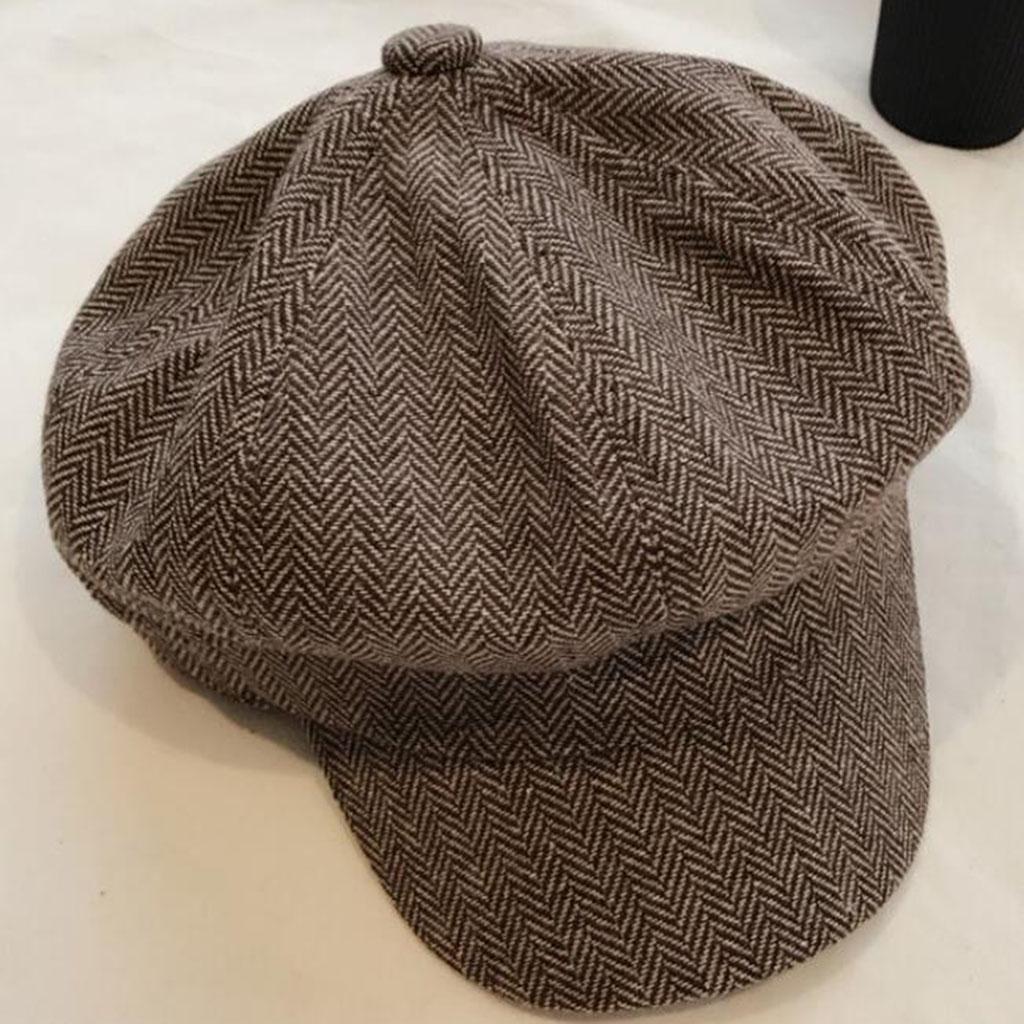 invierno Moda Mantener caliente Frío sombrero Modelos femeninos raya Sombrero octogonal , brown