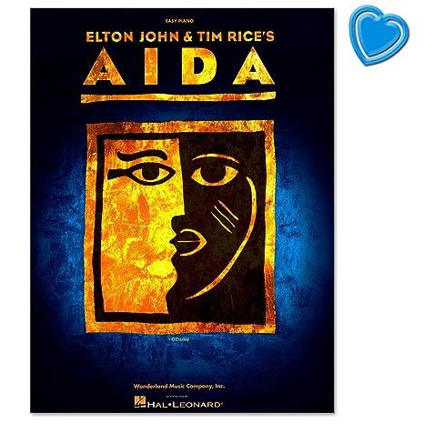 Elton John & Tim Rice: Aida - Noten zum Erfolgsmusical Aida für Klavier, Gesang und Gitarre mit den Griffbildern - Buch mit bunter herzförmiger Notenklammer
