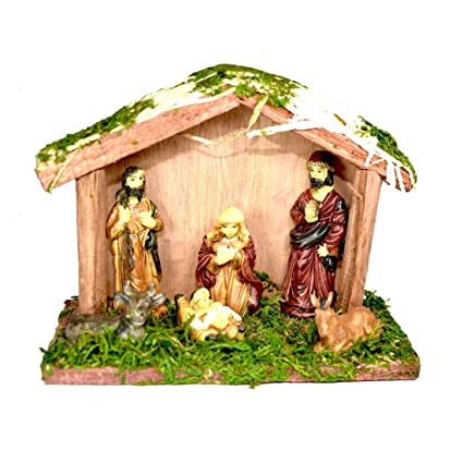 Christmas Crib Images Hd.Saffronworld Christmas Crib Nativity Figurine Set For Xmas Decoration With Jesus And His Disciples Small
