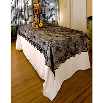 Halloween Lace Tablecloth For Halloween Parties Halloween Decor Ideas Spooky Meals Spider Net Pattern 48 X 96 Black