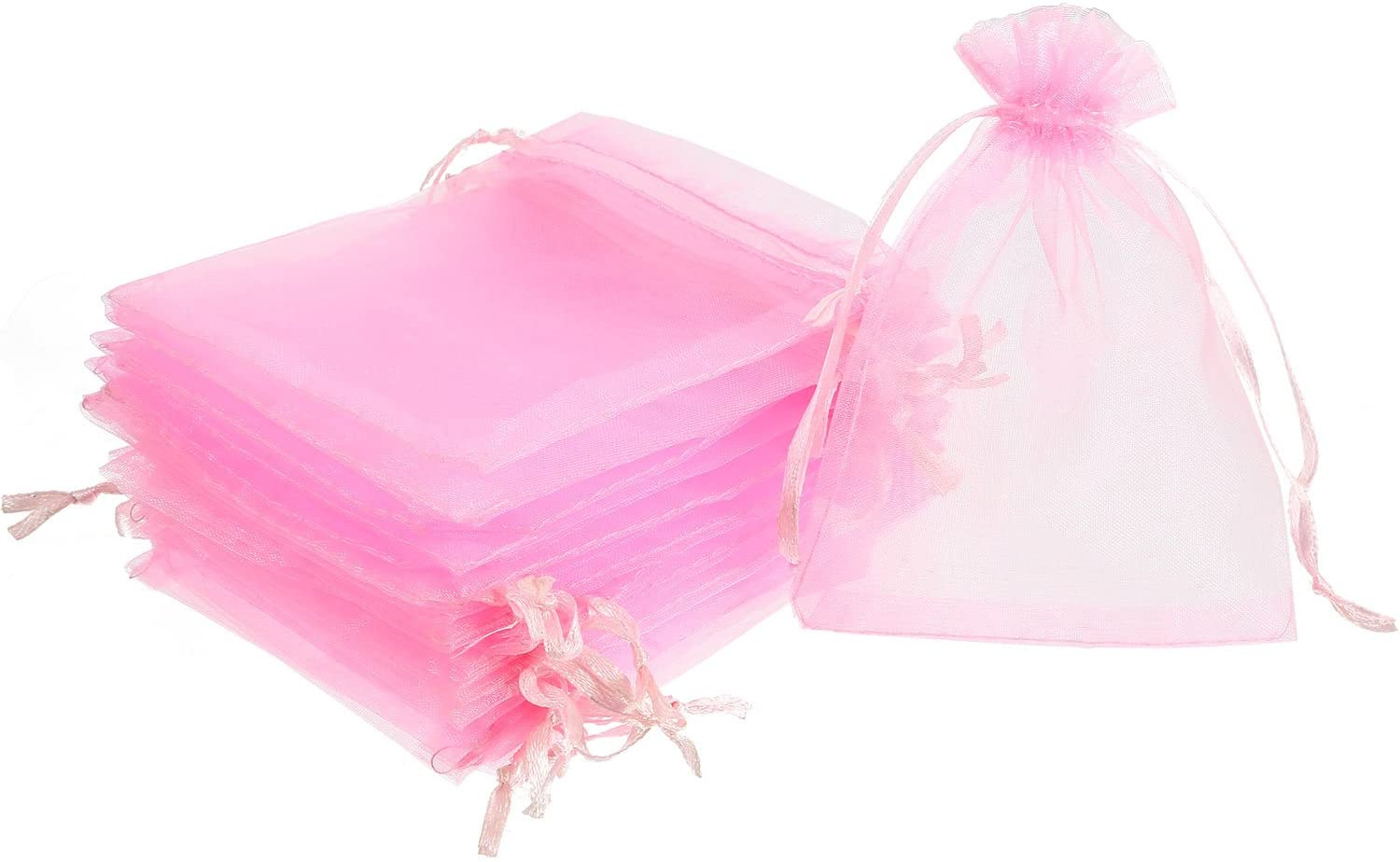Mudder 50 Pack Organza Gift Bags Wedding Party Favor Bags Jewelry Pouches Wrap, 4 x 4.72 Inches (Pink)
