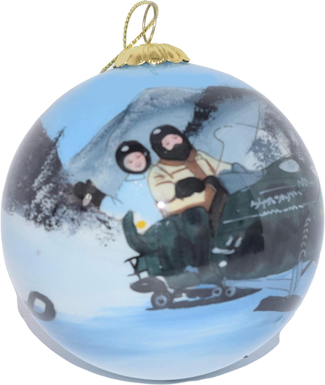 Hand Painted Glass Christmas Ornament - Man & Woman on Snowmobile Jackson Hole