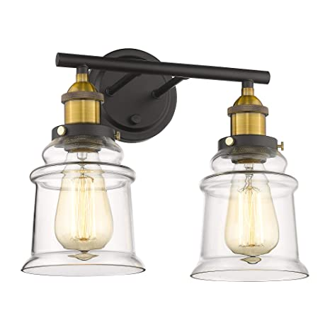 pretty nice e4abc bff35 Beionxii Bathroom Vanity Light Fixtures, Industrial Two-Light Bath & Vanity  Vintage Brushed Brass Black Finish with Clear Glass - BXG002 Series