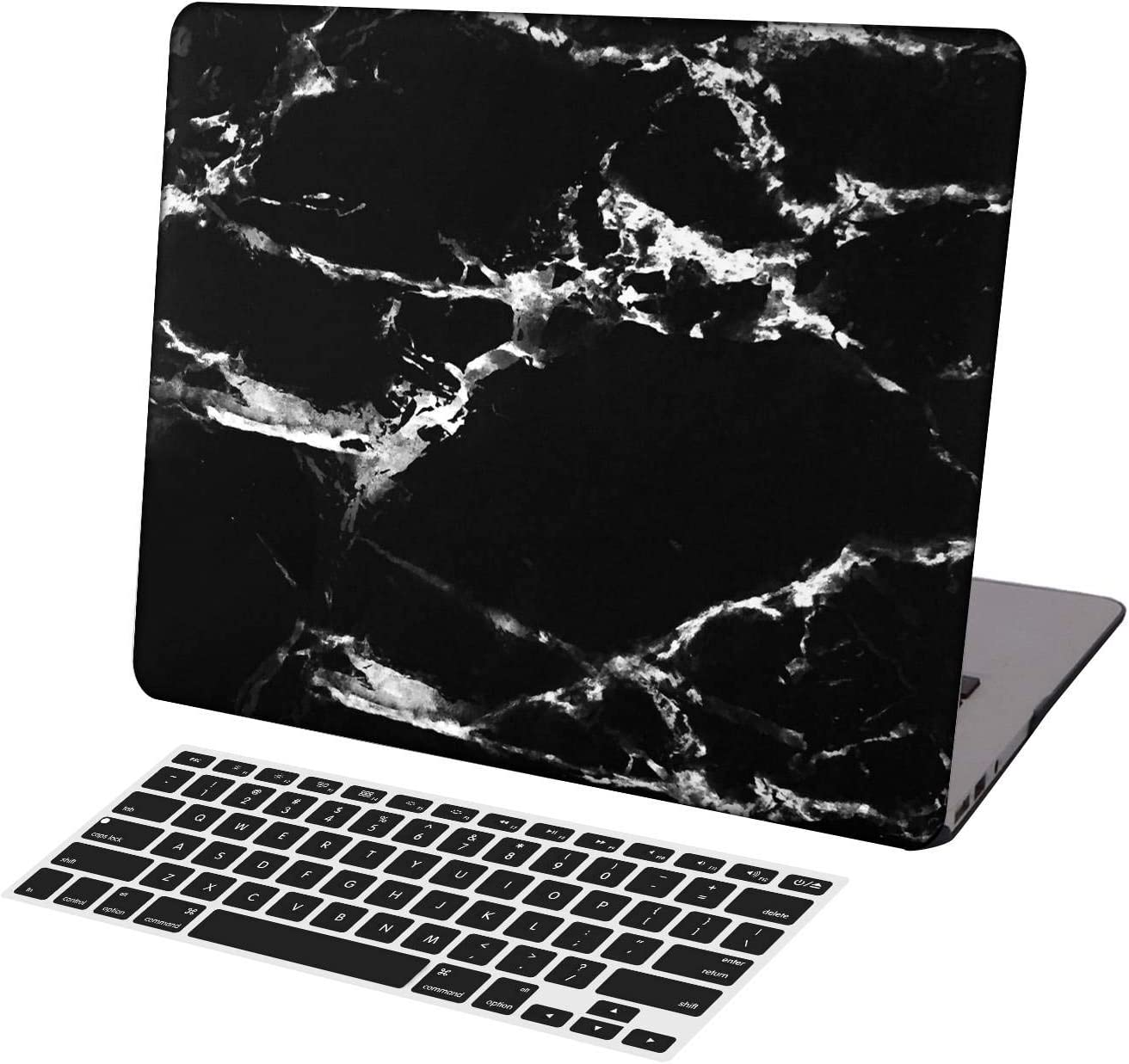 KSK KAISHEK Laptop Case for Newest MacBook Air 13 inch Model A1932/A2179,Plastic Ultra Slim Light Hard Shell + Keyboard Cover Compatible MacBook Air 13 inch 2018-2020 Release,Black & White Marble