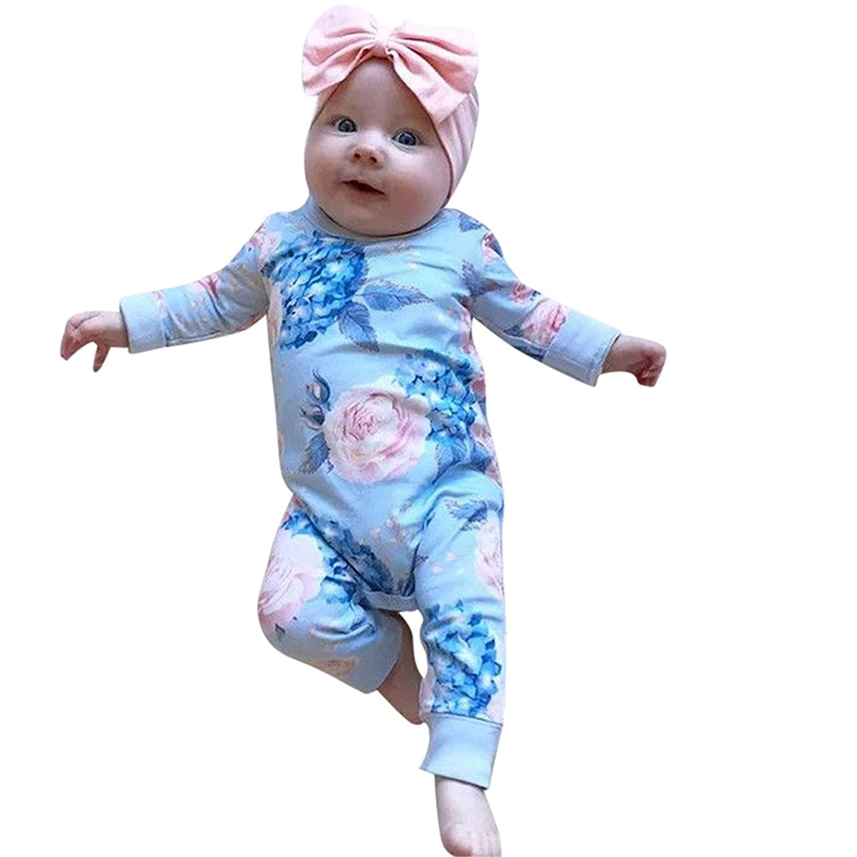 Younger Tree Newborn Baby Girls Romper Jumpsuit Full Flower Long Sleeves Bodysuit Infant Toddler Headband Clothes