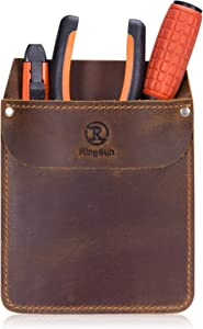 RingSun Leather Pocket Protector, Durable Pocket Tool Pouch, Jeans Shirts Pocket Protector for Tools Pens, RS10
