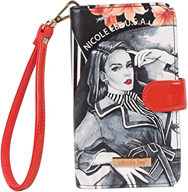 Universal Printed Phone Case with Detachable Wristlet Including ID Window and Credit Card Slot (Maxine