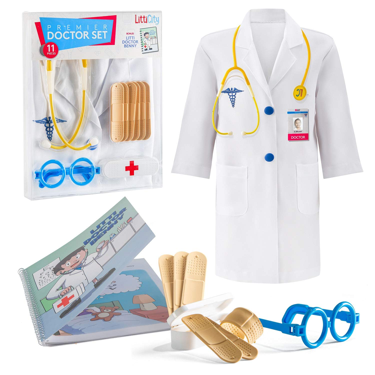 Litti City Doctor Kit for Kids - Complete Doctor/ Vet Accessories with White Doctor Coat, Stethoscope & Medical Kit - Doc Coat Costume & Tools - Pretend Play for Boys & Girls by Litti City